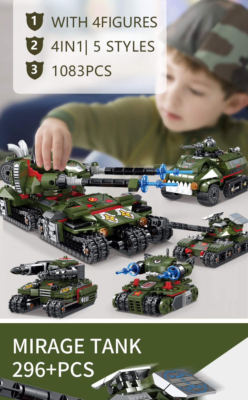 """конструктор huiqibao """"военный танк"""", 1083 шт. 4 в 1"""