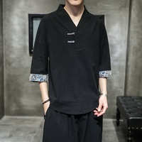 Summer Black Chinese Top Kimono Cotton Linen T Shirt Men Chinese Style Retro V Neck Linen T Shirt Thin Vintage Tee Shirt KK2987