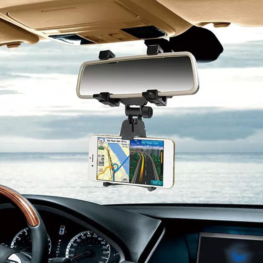 Adjustable Car Auto Rearview Mirror Mount Cell Phone Holder Bracket Stands For Samsung Huawei Xiaomi IPhone X 7 Mobile Phone GPS