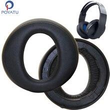 Poyatu CECHYA 0090 Earpads dla Sony PlayStation Platinum bezprzewodowy zestaw słuchawkowy słuchawki PS4 wymiana Earpad poduszka do słuchawek kubki