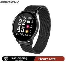 Cobrafly 스마트 워치 여성 혈압 심장 박동 터치 스크린 Smartwatch 레이디 방수 시계 스포츠 안드로이드 IOS Xiaomi