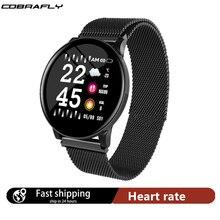 Cobrafly montre intelligente femmes pression artérielle fréquence cardiaque écran tactile Smartwatch dame étanche montre Sport pour Android IOS Xiaomi