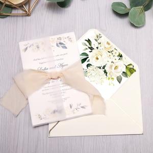 Image 4 - 50pcs 초대장 카드 신부, 베이비 샤워 초대, 생일, 저녁 초대, 꽃과 핑크 주머니