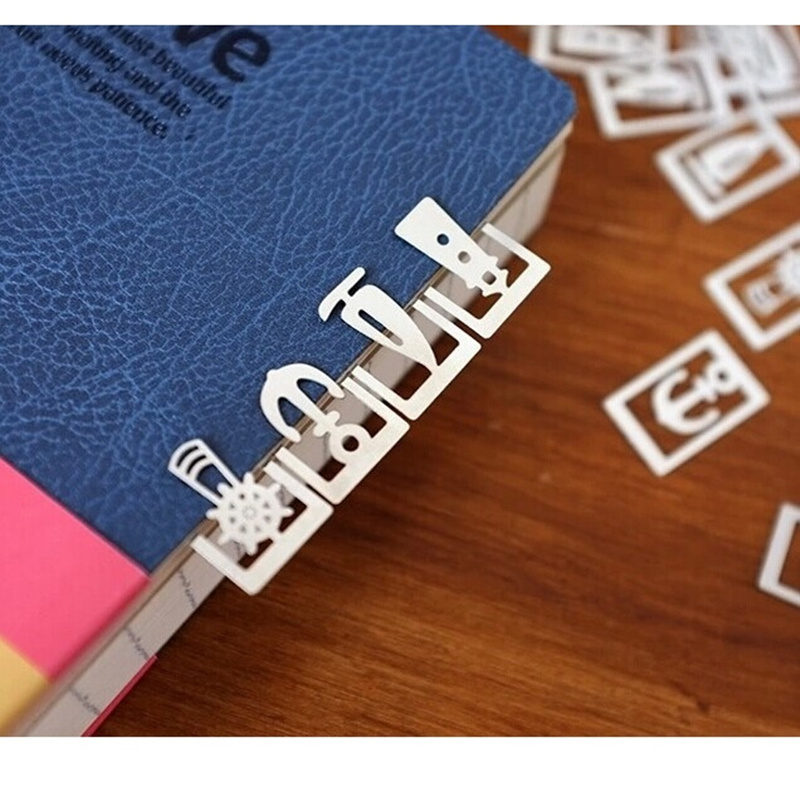 3 Box Mini Metal Bookmark For Book Page Holder Total 60pcs Vintage Music Marine Forest Paper Clip Marker Office School A6408