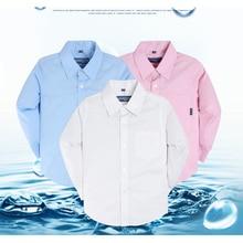 Long Sleeve Children Cotton Shirts,School Boy Tops Kids Whit