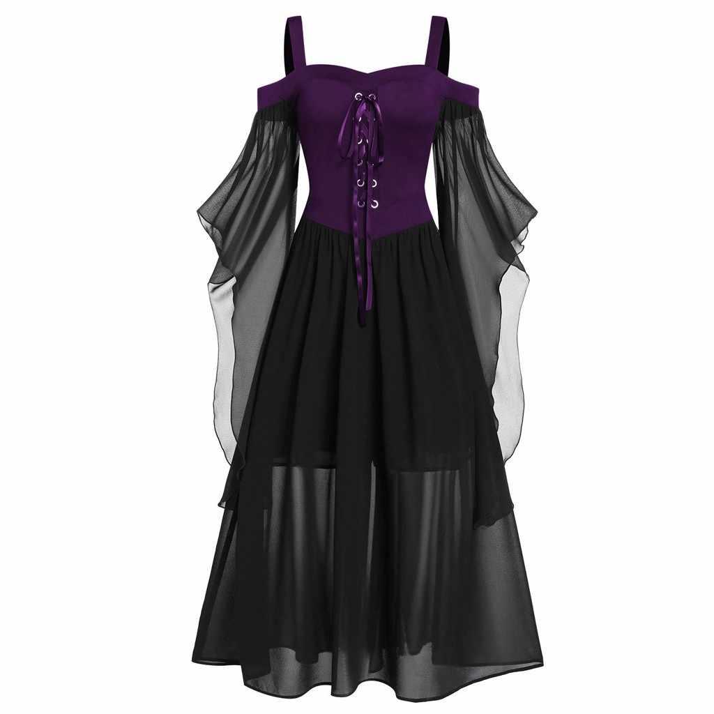 Gótico do vintage do Dia Das Bruxas Mulheres Vestido Plus Size Lace Up Fora Do Ombro Princesa Medieval Cosplay Traje Vestido de Manga Borboleta # F