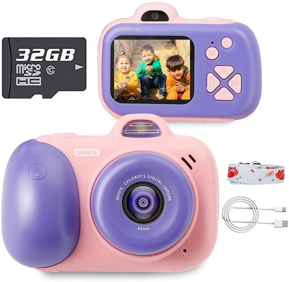 Beiens Kids Camera Digital Toy Children 2400W Pixel Toddler Toys Camera 2inch IPS Screen Educational Toys 32G SD Card