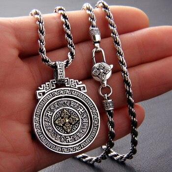 925 Sterling Silver color Tibetan OM Six Words Pendant Tibetan Dorje Pendant Vintage Pure Buddhist Vajra Pendant Jewelry Gifts