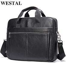 WESTAL Men's Briefcase Men's Bag Genuine Leather Laptop Bag 14 Computer Briecases Bags for Document Leather Messenger Totes Bags