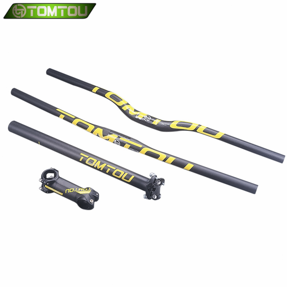 TOMTOU Bicycle Mountain <font><b>Handlebar</b></font> Sets 3K <font><b>Carbon</b></font> Fiber MTB <font><b>Bike</b></font> <font><b>Handlebar</b></font> + Seat Post + <font><b>Stem</b></font> Yellow Matte image