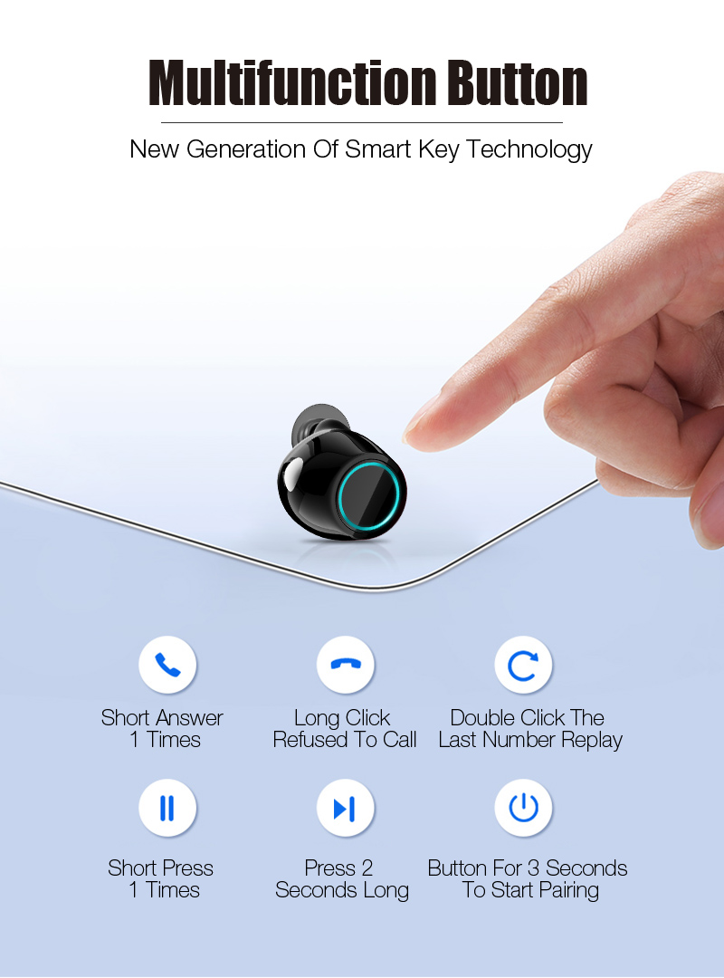 Bluetooth Earbuds Wireless Headphone Headset Stereo With Charging Box Wireless Bluetooth Earphone For Phone for ios and Android