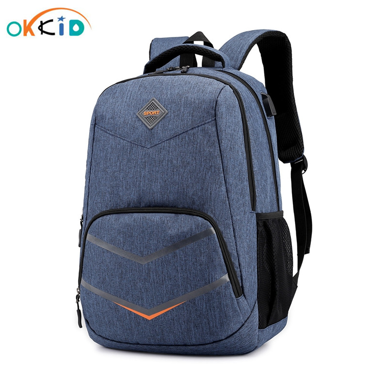 OKKID School Bags For Kids Boys Travel Laptop Backpack Waterproof School Backpack For Children Usb Charge Schoolbag Men Bagpack