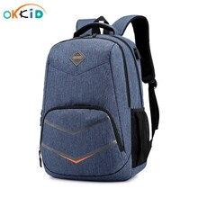 OKKID حقائب مدرسية للأطفال بنين حقيبة ظهر لحمل جهاز الكمبيوتر المحمول حقيبة ظهر مدرسية مقاومة للماء للأطفال usb تهمة المدرسية الرجال على ظهره