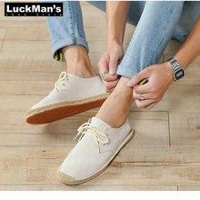 Men Shoes Summer Black White Bule Male Casual Canvas Hemp Insole Fisherman Light Shoes Ethn