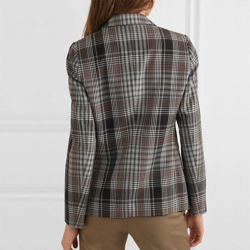 2020 otoño nuevo Retro A Buckle estilo Hong Kong suelto Plaid traje de manga larga abrigo botón Plaid ropa mujer Chaquetas abrigo Mujer - 3