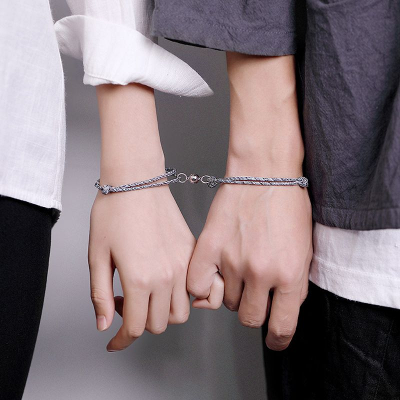 ANGELADY 2Pcs/set Friendship Rope Braided Distance Couple Magnetic Bracelet Kit Lover Jewelry