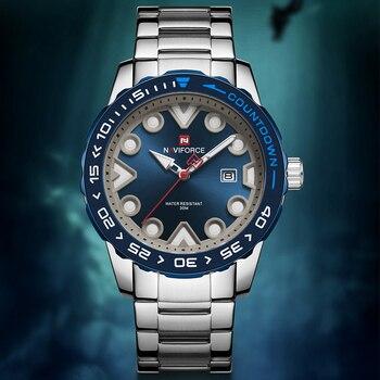 NAVIFORCE New Wrist Watches Quartz Stainless-Steel Waterproof Mens Clock Date Male Sports Watch Top-Brand Relogio Masculino 2020 - discount item  50% OFF Men's Watches
