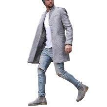 Casacos masculinos casual moda bolsos longos casacos casaco de manga longa inverno casaco masculino parka único breasted 2020 novo masculino casacos longos outwaer