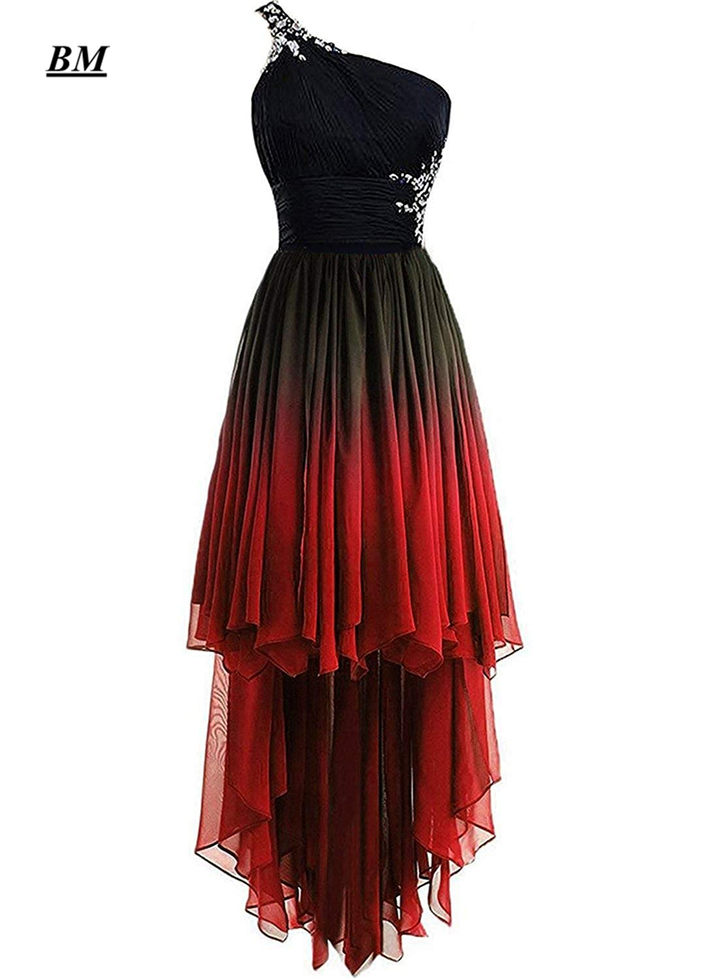 2019 Elegant A-line One Shoulder Hi-Lo Gradient Chiffon Short Prom Dresses Ombre Beads Crystal Evening Vestidos De Gala BM192