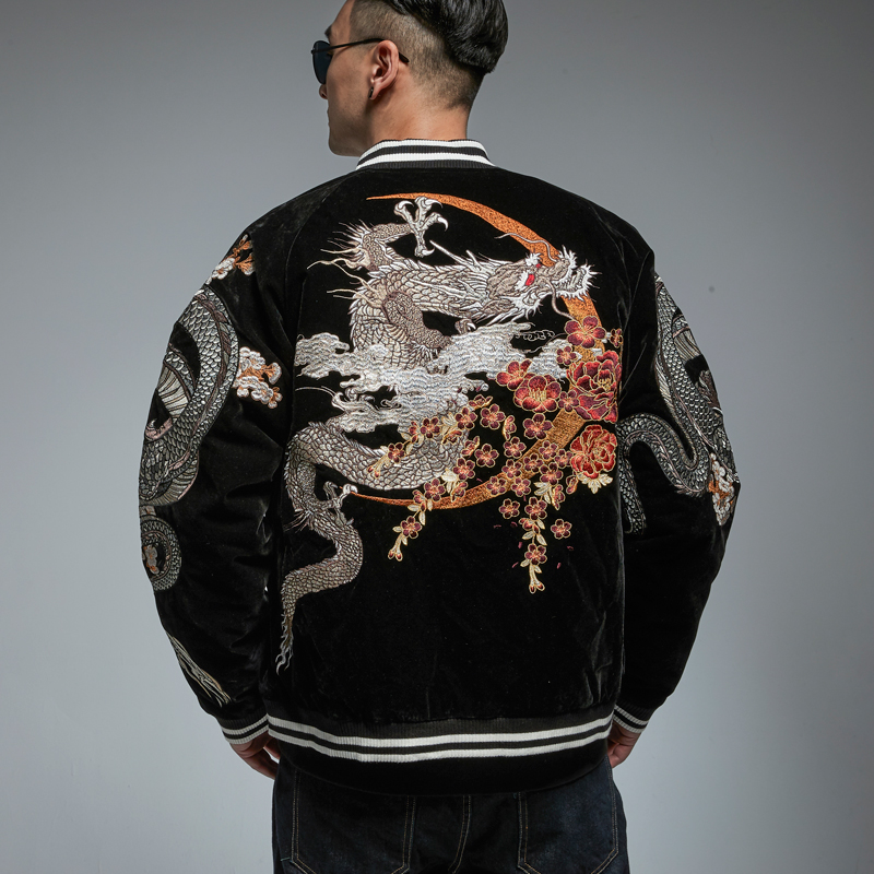 New Chinese Style Heavy Industry Embroidered Dragon Jacket Autumn And Winter Thick Coat Tide Brand Men's Personality Jacket