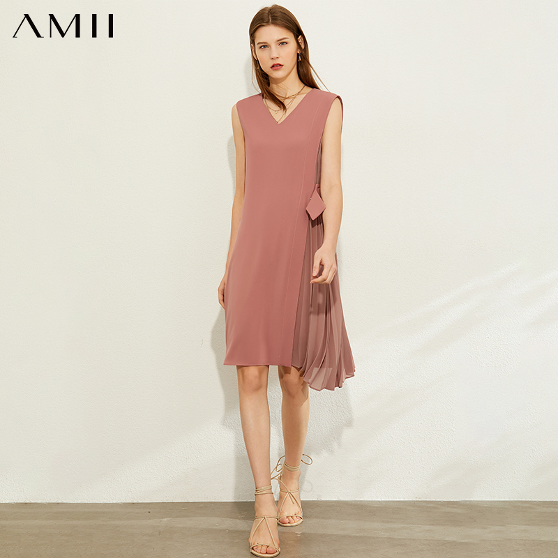 AMII Minimalism Spring Summer Fashion Splice Pleated Dress Women Vneck Sleeveless Knee-length Dress 12070255