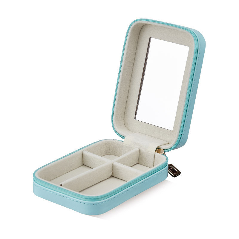 Jewelry Casket Small Jewelry Box Lipstick Storage Portable Makeup Organizer With Mirror Beauty Travel Box Jewerly