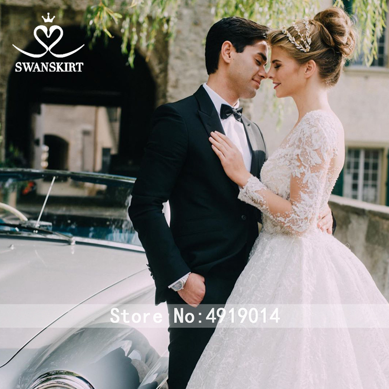Image 4 - Luxury Long Sleeve Wedding Dress 2019 Swanskirt Sweetheart Appliques Tulle Ball Gown Princess Bridal Gown Robe De Mariage U144-in Wedding Dresses from Weddings & Events