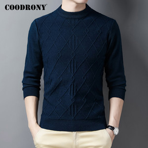 COODRONY Brand High Quality Thick Warm Winter Sweater Men Clothing Streetwear Fashion Plaid Casual O-neck Pullover Jumpers C1221