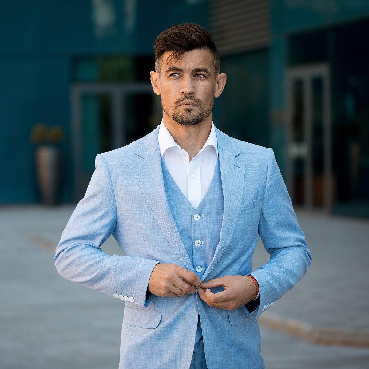 Tian qiong 100% 폴리 에스터 스카이 블루 정장 남자 슬림 맞는 레저 비즈니스 웨딩 드레스 정장 terno masculino tuxedo 3 pcs-에서정장부터 남성 의류 의  그룹 1