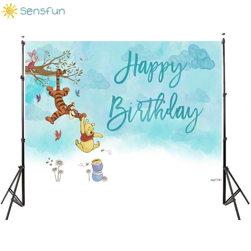 Sensfun Cartoon Photography Backgrounds Winnie The Pooh Tigger Honey Kids 1st Birthday Party Backdrops For Photo Studio Banner