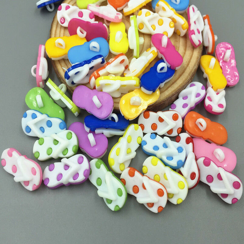 DIY 100PCS Cartoon Flip flops shape Resin Gemengde kleur Naaien scrapbooking knoppen Ambachten 22mm