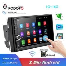 Podofo العالمي 2 الدين أندرويد 8.1 راديو السيارة بلوتوث لتحديد المواقع واي فاي 2din مشغل وسائط متعددة ISO أندرويد مرآة ربط الصوت ستيريو كام