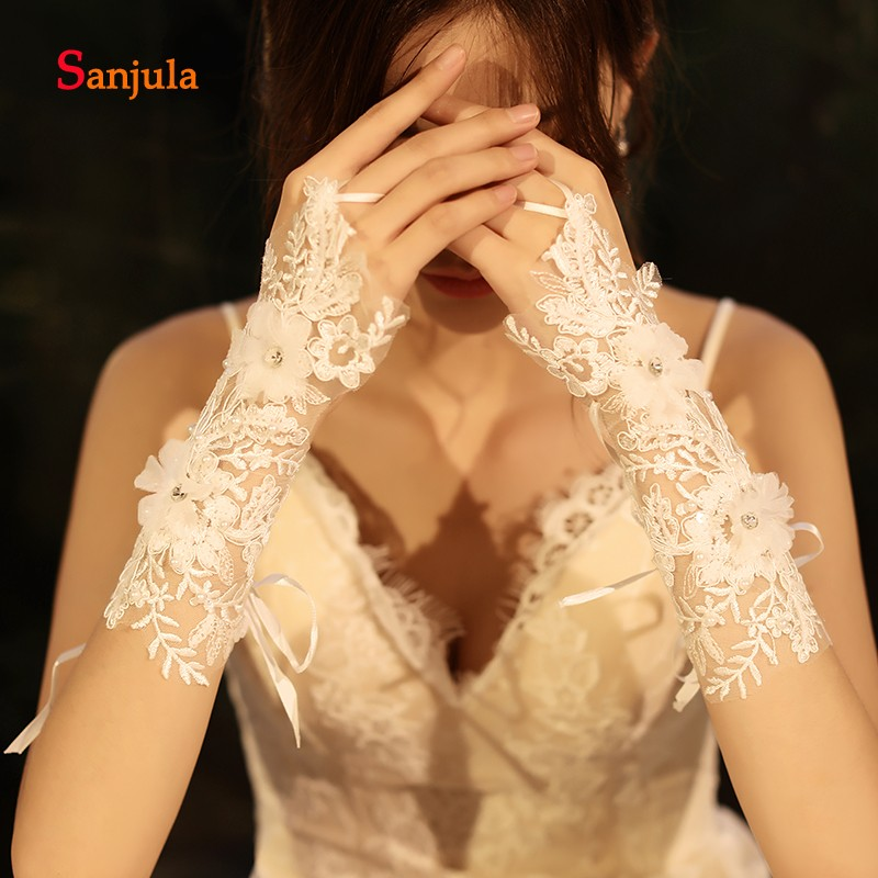 Guantes de encaje para novia flores hechas a mano guantes de ocasión especial ropa de mano para fiesta de boda acessorio de casamento G86