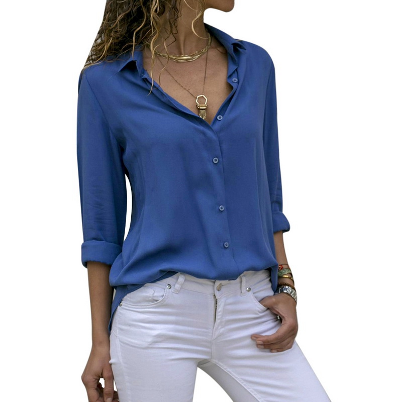 Women Tops Blouses 2020 Autumn Elegant Long Sleeve Solid V-Neck Chiffon Blouse Female Work Wear Shirts Plus Size