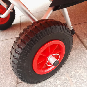 Image 1 - 2 Pieces/ Set 10 0.88 Durable Puncture Proof Rubber Tyre on Red Wheel for Kayak Trolley Cart Boat Trailer Kayak Cart Wheel