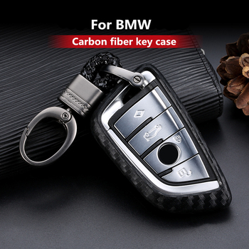 Carbon Fiber Silicone Car Key Cover Case For BMW X1 X3 X5 X6 Series 1 2 5 7 F15 F16 F48 E53 E70 E39 F10 F30 G11 G30 Accessories image