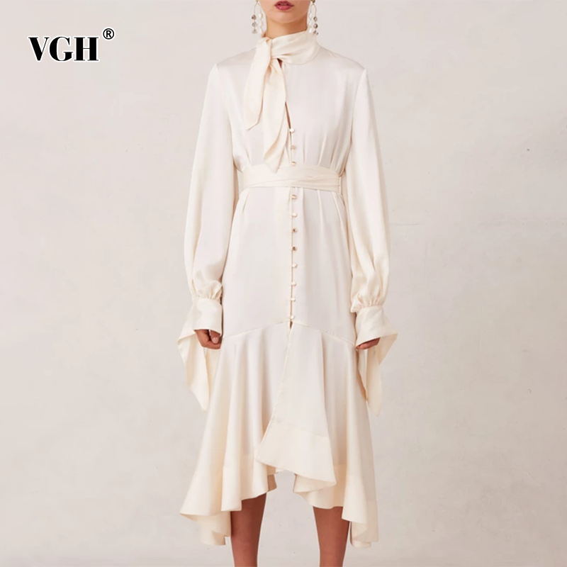 VGH Elegant Asymmetrical Lace Up Dresses Female Stand Collar Flare Sleeve High Waist Hollow Out Dress Womens 2020 Spring Clothes