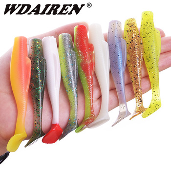 6Pcs Floating Water Soft bait 85mm 5g Wobblers Jig Fishing Lure T tail Swimbaits Elastic Silicone Artificial bait Fishing Tackle silicone bait wobblers artificial bait fishing lure soft lure 10cm 3 6g swimbaits lures for fishing bionic lure fishing gear