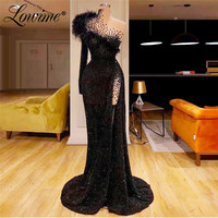 Black One Shoulder Glitter Party Dress Feather Long Prom Dresses 2020 New Arrival Saudi Arabic Formal Kaftans Evening Gowns
