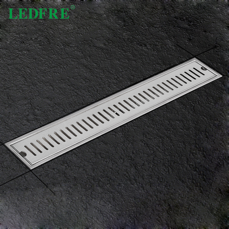 LEDFRE Shower Drain 304 Stainless Steel Shower Floor Drain Long Linear Drainage Channel Drain For Hotel Bathroom Kitchen Frool