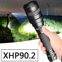 Xhp90.2 Led Flashlight Bike Torch Lantern Waterproof 18650 Battery Shock Resistant Self Defense Hard Light Zoomable Bulbs Lamp