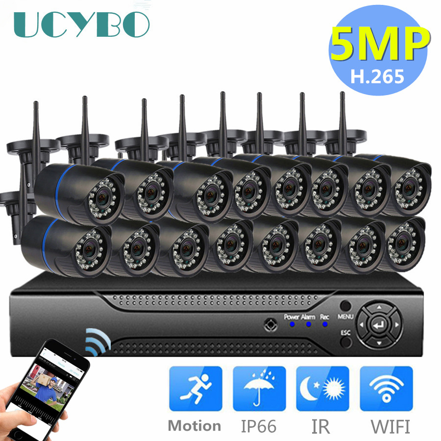 5mp Wifi Cctv System Wireless Ip Camera Nvr Set 16CH 8CH 4CH H.265 Video Surveillance Kit IR Outdoor Security Camera System