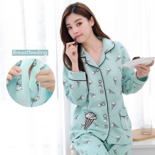 Maternity Nursing Nightwear Autumn Winter Breastfeeding Lounge for Pre