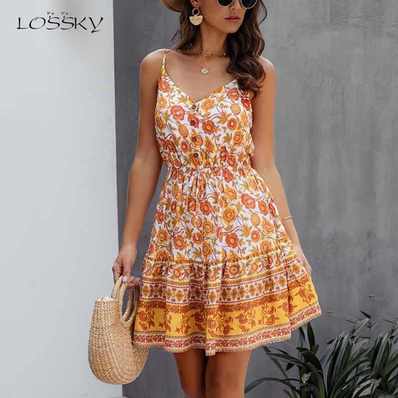 Lossky 夏の女性のプリント V ネックドレスボタン綿ミニサンドレスファッション自由奔放に生きるビーチセクシーなショート背中スリップ弾性ウエスト