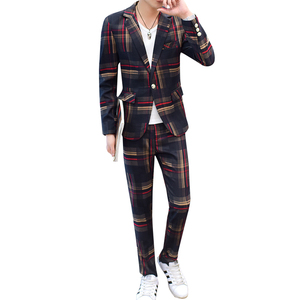 Image 5 - European Station New Polyester Mens Small Suit Suit Youth Casual Business Slim Trend Mens Plaid Suit Two piece Men Red Blazer