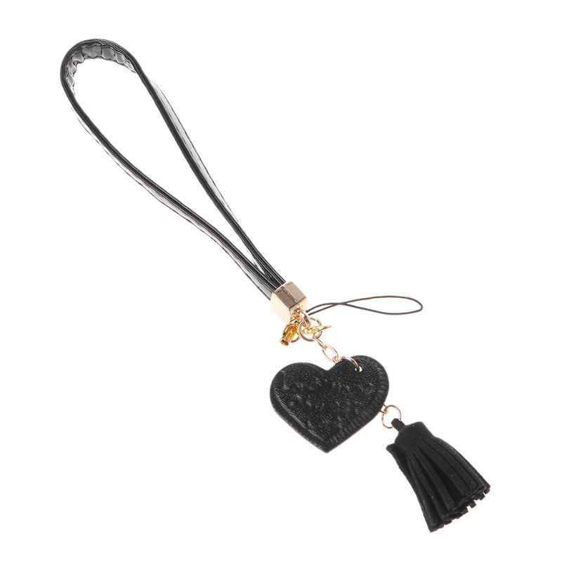 Love Heart Tassel Hand Wrist Lanyard Strap String for Phone iPhone 7 8 X 6 Samsung Xiaomi Camera USB Flash Drives Keychains