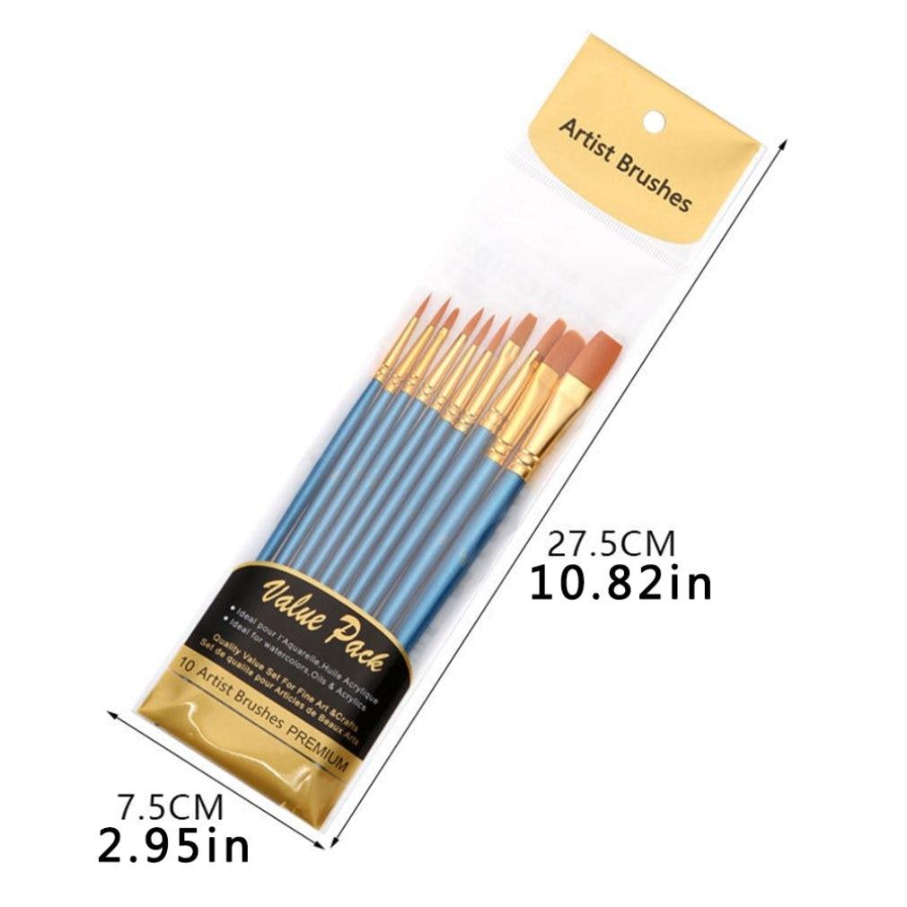 Художественная нейлоновая кисть для рисования профессиональная Акварельная акриловая деревянная ручка кисти для рисования художественные канцелярские принадлежности 10 шт. 6