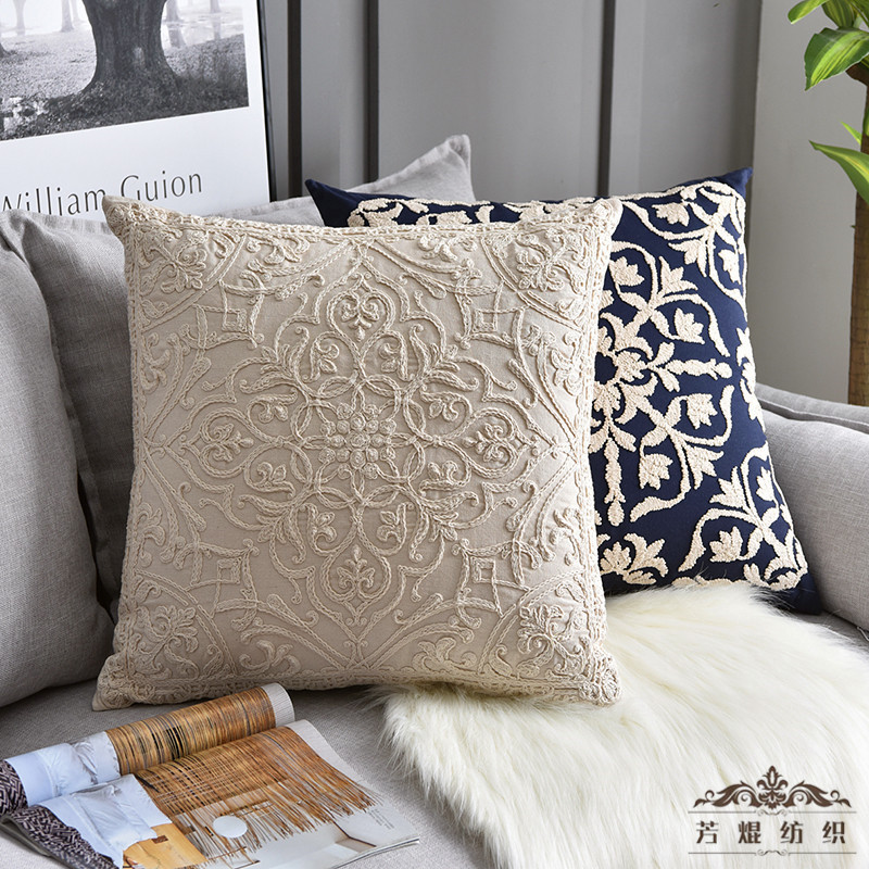 Embroidered Cushion <font><b>Cover</b></font> Grey Beige Geometric Cotton Square Embroidery <font><b>Pillow</b></font> <font><b>Cover</b></font> <font><b>50x50cm</b></font> Decorative PillowCae image
