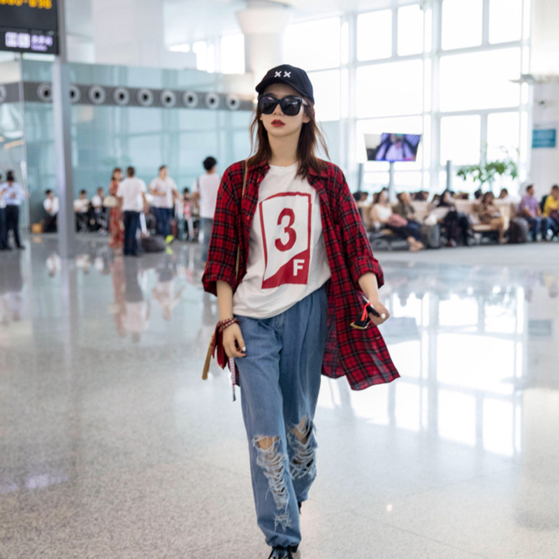 Star Airport with The Same Red Long Sleeved Shirt Women 39 s Autumn Loose Long Sleeve Tide 2019 Turn down Collar Women Shirts in Blouses amp Shirts from Women 39 s Clothing