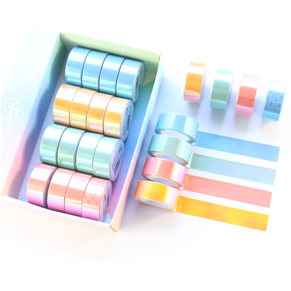 Domikee Cute Creative Japanese Kawaii Laser Diary Decoration Washi Tape Candy School Student DIY Journal Masking Tape Stationery